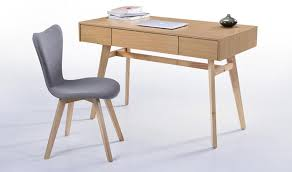 bureau chene bureau vintage en bois finition chêne look rétro ées 60