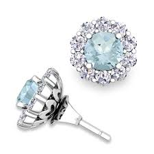 earring jackets for studs aquamarine studs and halo diamond earring jackets in 14k gold 5mm