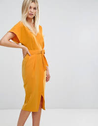 closet london closet wrapover pencil dress with belt