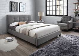 Grey Bed Frame Fabric Light Grey 5ft Kingsize Bed Upholstered Bed Frame Ebay
