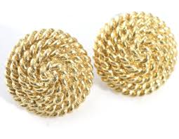 monet earrings twisted rope gold tone dome monet vintage earrings pierced