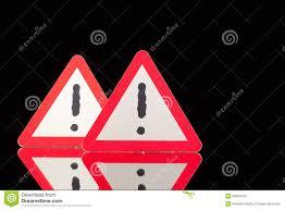 Glasschreibtische Gefahrenwarnzeichen Auf Dem Schwarzen Glasschreibtisch Stockfoto