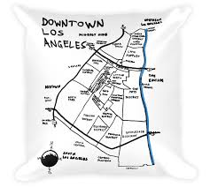 Downtown Los Angeles Map by Decorative Throw Pillow Downtown Los Angeles California Hand