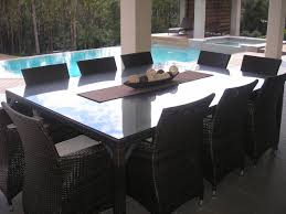 wicker dining table with glass top united house furniture roman 10 11pc glass top wicker outdoor