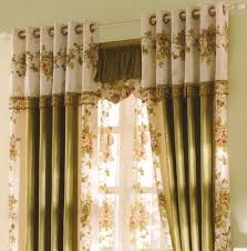 curtains country dark green floral jacquard