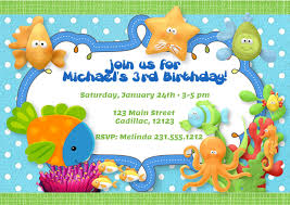 Birthday Invitation Card Kids Under The Sea Theme Birthday Party Invitation Boys Under The