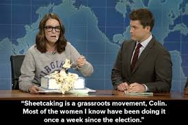 tina fey devoured a sheet cake whilst giving a scathing speech