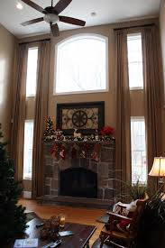 Swag Curtains For Living Room by Two Story Great Room Window Treatments Curtains For Two Story