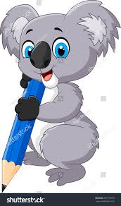 cartoon koala holding pencil stock vector 267797039 shutterstock