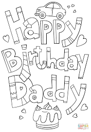 happy birthday daddy doodle coloring page free printable