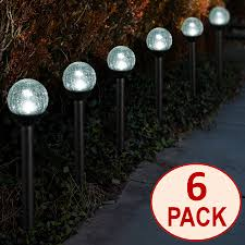 solar powered black path lights 2 5 crackle glass path lights for