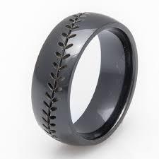 black wedding rings for men black zirconium baseball wedding band 8mm comfort fit