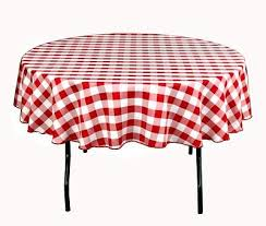 round picnic tablecloth polyester red white checkered table cover