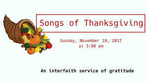 songs of thanksgiving interfaith service church of the redeemer