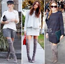 womens knee high boots sale wholesale 2015 gray suede high heels boots chunky knee high boots