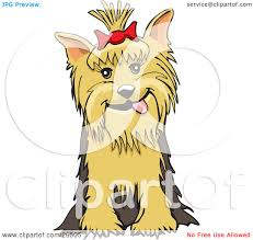 clipart illustration of a friendly yorkshire terrier dog with a