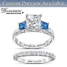 bridal ring sets something blue personalized womens bridal ring set