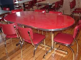 steel dining table set interior breathtaking red retro dining room design and decoration