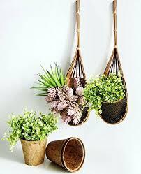 hanging planter basket plawanature set of 2 garden decorative mini bamboo hanging planter