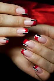 red and black colour combinations french nails manicure