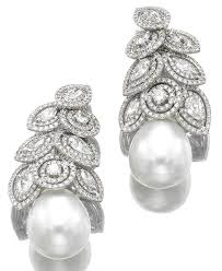 diamond and pearl earrings poutine s jewels royals pearl and diamond earrings