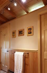 Pine Ceiling Boards by Log Cabin New Bathroom Addition Michaud Enterprises Llc