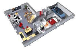 chambre garage plan maison 3d de 125 m 2 chambres avec garage plans maisons