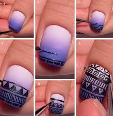 aztec nail design tutorial aztec print purple gradient