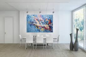 Wohnzimmerm El Rot öl Gemälde U0027abstrakt Blau Bunt U0027 Handgemalt Leinwand Bilder