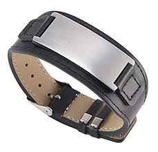 free leather bracelet images Free engraving quality stainless steel with leather jpg