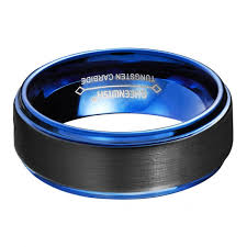 black and blue wedding rings queenwish blue tungsten wedding bands black matte classical