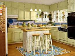 rustic u shaped kitchen with moveable kitchen island with seating