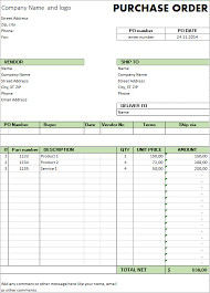 Free Purchase Order Template Excel Excel Template Free Purchase Order Template For Microsoft Excel