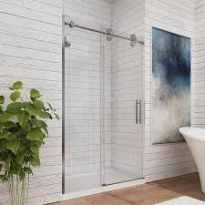 Bathroom Shower Door Shop Ove Decors Sydney 45 In To 47 In W Frameless Satin Nickel