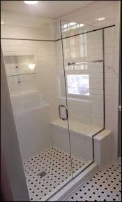 small bathroom window design with black and white floor tile ideas