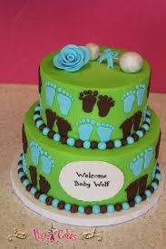 baby shower cake green blue brown 2 tier boy u2013 pixy cakes