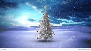 snow falling tree in snowy landscape stock animation