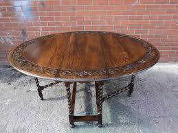 Oak Drop Leaf Dining Table Antique Carved Oak Barley Twist Drop Leaf Dining Table Kitchen