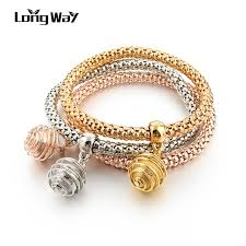 charms bracelet design images Longway new design 3 set gold color bracelets bangles with ball jpg