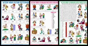action verbs esl printable worksheets and exercises