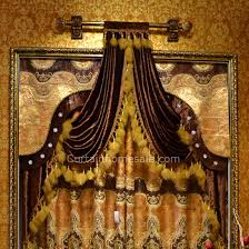 Gold Suede European Decorative Style Living Room Curtain No Valance