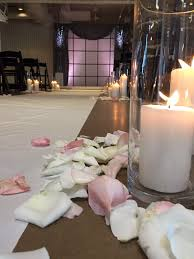candle runners wedding ceremony window alter grey drapes ivory aisle runner
