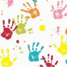 kids wallpaper new handprints red blue girls boys childrens kids wallpaper by