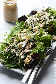 spring mix and roasted green bean salad with creamy maple miso