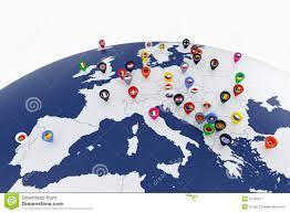 Europe Map Countries by Europe Map With Countries Flags Location Pins Stock Illustration