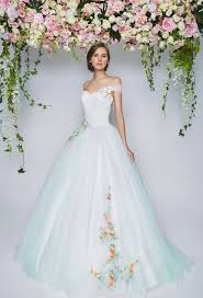 light blue off shoulder wedding gown embroidered flowers the