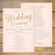 Modern Wedding Programs Blush Pink And Gold Wedding Program Printable Printable