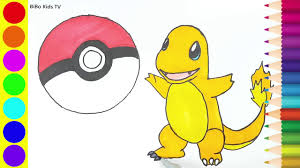 how to draw pokemon charmander coloring pages learn colors for