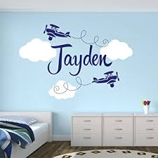 Boy Nursery Wall Decal Custom Airplane Name Wall Decal Boys Room Decor