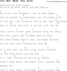 christmas carol song lyrics with chords for its not what you give